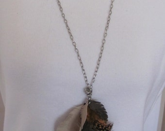 Necklace Beautiful Brown Suede Leather Orange Feather Necklace (#5)