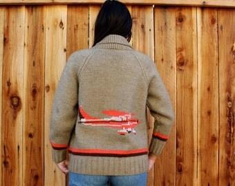 Vintage 60s AIRPLANE Aviation Cardigan Sweater S