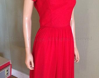 1960s Elegant Lipstick Red Chiffon Cowl Neck Short Sleeve Dress-S