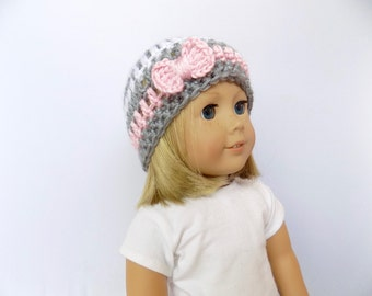 18 Inch Doll Hat, Doll Beanie with Bow, Pink and Gray Doll Hat, Doll Accessories