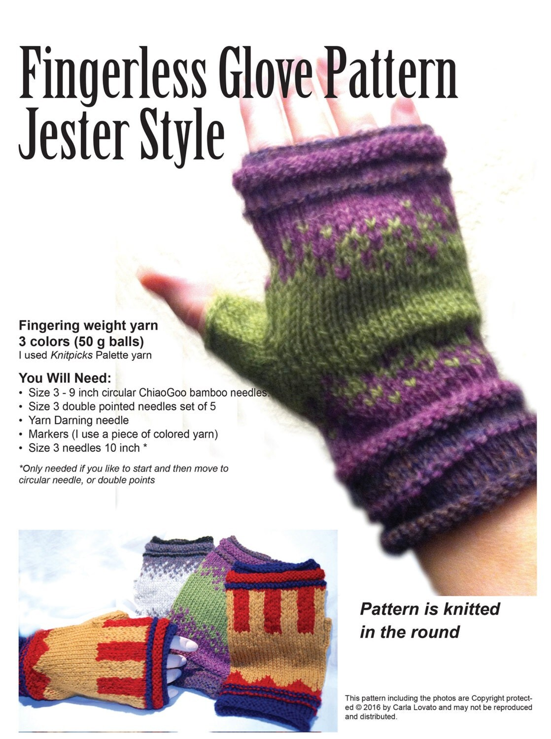 Gloves fingerless knitting Pattern Downloadable pattern