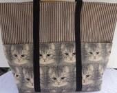 Graphic Cat Tote / Cat Market Bag