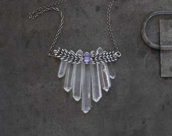 Seven Sacred Sisters - Raw Crystal Quartz and Tanzanite Necklace by Prairieoats