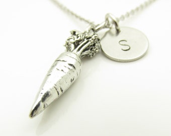 Carrot Necklace, Personalized, Initial Necklace, Antique Silver Carrot Charm, Food Charms, Vegetable Charm, Root Vegetable, Monogram Y278