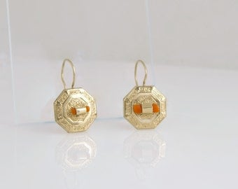 Antique Victorian Earrings 10k Gold Natural Coral Earrings