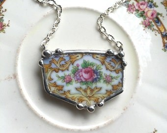 So pretty! Ornate antique pink rose porcelain floral broken china jewelry necklace
