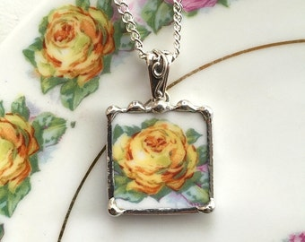 Broken china jewelry pendant necklace antique porcelain yellow rose recycled china