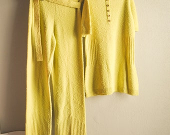 Vintage Chartreuse Popcorn Sweater Suit 2 Piece Outfit 1960s Mid Century Leisure Suit