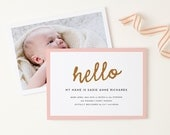 Printable Birth Announcement, Birth Announcement Template, for a Boy or Girl, 100% Editable Colors in Word or Pages, INSTANT DOWNLOAD