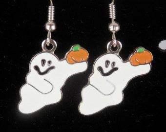 Ghost Earrings, Halloween Earrings, Silver Plated