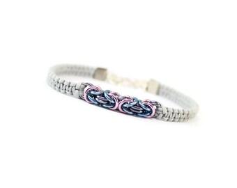 Pastel Bracelet, Chainmaille Bracelet, Byzantine Bracelet, Gray Cord Bracelet, Cord and Chainmaille Bracelet