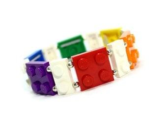 Geek Rainbow Bracelet made from New LEGO ® Pieces, Pride Bracelet