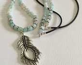 Necklace-Dyed Aqua Blue Agate-Beaded Leather Cord-Dark Brown and Soft Light Blue-Peacock Feather Pendant-Long Boho Necklace-36 Inch Necklace