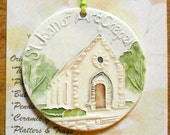 St. Joan of Arc Chapel Ceramic-Watercolor Ornament for wall or tree plus free gift wrap, original, 100% handmade