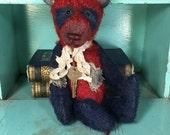 Antique style, patriotic, Americana, panda, teddy, bear * Brady Bears Studio * primitive, mohair, artist * faap * hafair