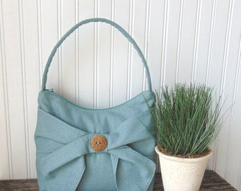 Mint Green Linen Handbag, Aquamarine Linen Purse, Shoulder Bag, Tote Bag, Zipper Bag, Bow Handbag, Fabric Handbag, Spring Handbag