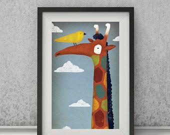 Up in the Clouds GIRAFFE graphic art print by Ryan Fowler Signed NURSERY Baby Kids
