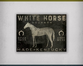 FREE Text Customization HORSE BOURBON Stretched Canvas Graphic Wall Art Sign  - Ready-to-Hang -  Signed