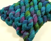 Mini Skeins - Hand Dyed Yarn - Sock Weight 4-Ply Superwash Merino Wool Yarn - Aegean Multi - Knitting Yarn, Sock Yarn, Blue Green Turquoise