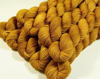Mini Skeins - Hand Dyed Yarn - Sock Weight 4-Ply Superwash Merino Wool Yarn - Honey Mustard - Knitting Yarn, Sock Yarn, Gold Yellow