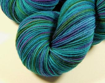 Hand Dyed Sock Yarn - Sock Weight Superwash Merino Wool / Nylon Yarn - Aegean Multi - Knitting Yarn, Wool Yarn, Turquoise Blue Green