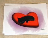 Blank Greeting Card - Sammy the Black Cat Asleep on Heart Pillow
