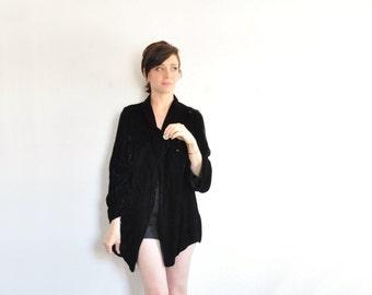 1930 black velvet bed coat . plush asymmetric lingerie jacket .small.medium