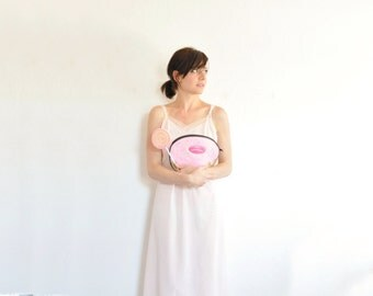 blush pink ruffle trim slip . sweet shop vintage lingerie dress .medium.38