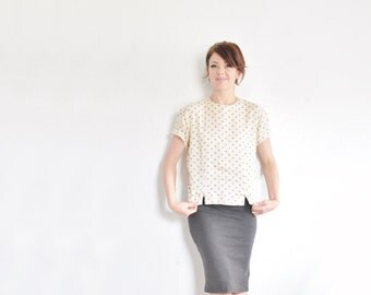 mod polka dot bow blouse . 1960 cream taupe mid century short sleeve top .medium .sale