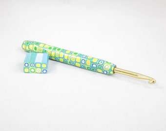 SALE - Pixelated Polymer Clay Covered Crochet Hook
