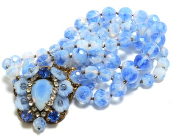 Hattie Carnegie Blue Givre Glass & Filigree Necklace - Signed