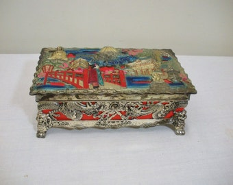 Vintage Ornate Asian Musical Jewelry Box - Made in Japan
