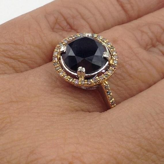 Black Diamond Engagement Ring Champagne Diamond Halo Black