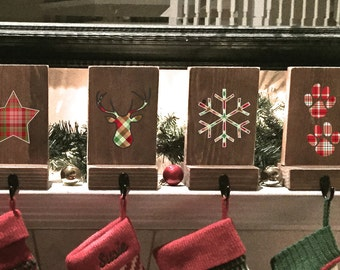stocking holders mantle stockings reclaimed wood set of 5 rustic christmas - Stocking Hangers For Mantle