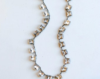 1920s sterling and glass crystal choker necklace / 20s art deco vintage white faceted glass stone and silver necklace