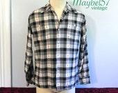 Vintage 1950s Men's Gab Shirt , Black and Red Plaid Top Loop Gabardine 50s Shirt
