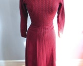 Vintage Dress 60s does Victorian Sorceress Long Red Maxi Dress S  - on sale