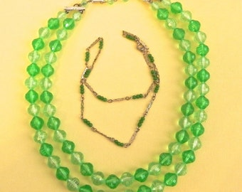 Vintage Green Necklace , 60s Faceted Beaded Necklace , plus bonus Green Choker lot of 2 necklaces - on sale