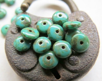 NEW DARK TURQUOISE Spacers . Czech Picasso Glass Beads (50 beads) 6 mm