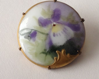 Hand Painted Orchid Brooch Porcelain Purple Green