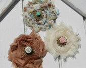 Country Shabby Chic Rose Hair Clip Set-Vintage-Romantic-Victorian