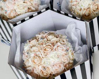 Blush flowers, rhinestone bouquet, blush pearls, bridesmaid bouquet, keepsake bouquet, forever bouquet, keepsake flowers, pink flowers