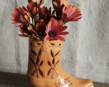 cowboy boot small vase, country western cowboy decor, dude ranch souvenir vase, ceramic vase