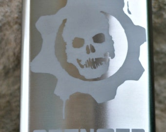 Gears of War  Personalized Flask by Jackglass on Etsy