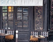 Paris Photograph, Paris Cafe Travel Photo Art Print, Paris Photography, Paris Decor, Black and Gold - Cafe on Ile Saint-Louis