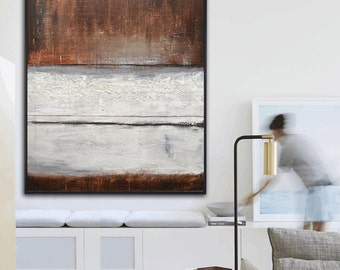XXL Mixed Media Original Abstract Painting Modern Art Brown White Earth Tones Textured Contemporary Oil painting Ready To Hang Sky Whitman
