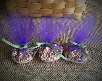 Bird seed send-off favors with lavender purple tulle and sage ribbon, set of 50