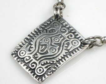 Mayan Earth Mother Talisman Fine Silver - Silver Rolo Cable Chain - Tribal Shaman Pendant - Mayan Fine Silver Necklace - Mayan Silver Amulet