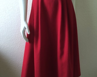 Vintage Women's 70's Wrap Skirt, Red, Cotton, Polyester, Flare by Pants Plus (M/L)