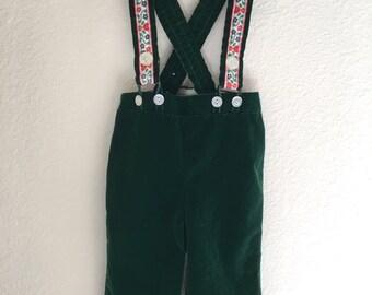 Vintage Baby Boy's 70s Overalls, Dark Green, Nylon (12 months)